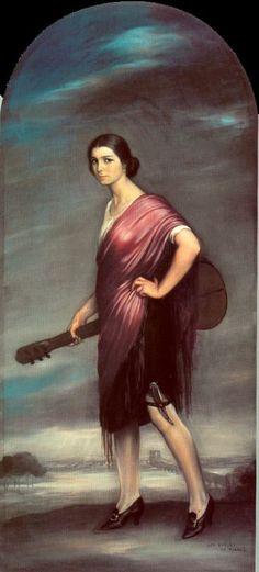 La copla, Oil by Julio Romero De Torres (1874-1930, Spain)