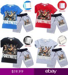 d83263ecd9f7 Fashion Kids Boys Fortnite Short Sleeve Shirt Tops+Shorts A Suits 6-14 Years