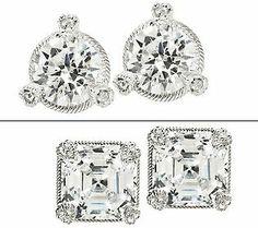 {@Judith Zissman Ripka 5 Carat Round or Asscher Diamonique Stud Earrings)