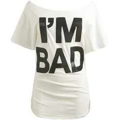 I'm Bad Mesh Letter Tee | Shop Tops at Wet Seal ($21) ❤ liked on Polyvore featuring tops, t-shirts, shirts, blusas, boat neck t shirt, mesh shirt, dolman sleeve t shirt, letter shirts and white mesh top