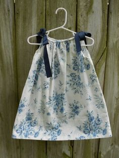 OOAK Vintage Pillowcase Dress Navy Flowers 18M by TheFancyFritter, $15.00
