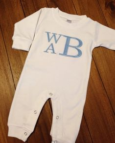This super soft monogrammed romper is the perfect outfit for your little boy. Makes a great coming home outfit, too. See other listings to add a