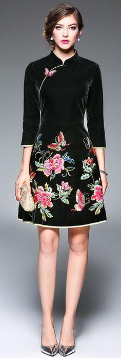 Black Mandarin Collar Embroidered Dress