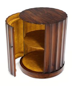 Round Mid-Century Modern Bar Cabinet Pedestal   From a unique collection of antique and modern pedestals at https://www.1stdibs.com/furniture/tables/pedestals/