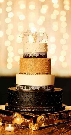 Elegant black and gold Gatsby-inspired wedding cake - The Wedding Story of Morgan McCormick and Julian Stephenson   WeddingDay Magazine