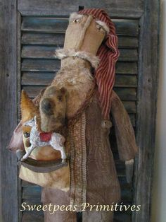 Primitive Folk Art Early Style Santa Doll with Primitive Bear, Rocking Horder and Bottle Brush Tree
