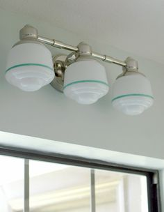 Use jade colored nail polish and painters tape to gussy up glass light bowls!