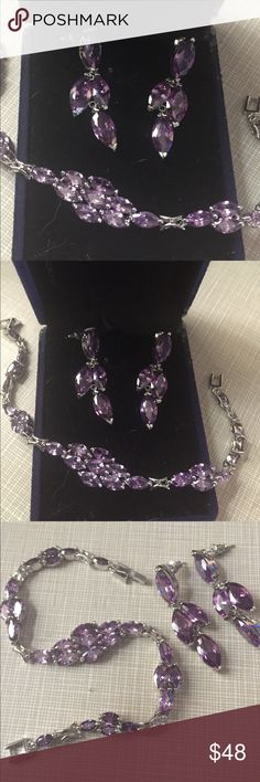 """So beautiful marquise cut amethyst silver set Beautiful amethyst marquise cut bracelet fit size 7"""" wrists silver stamped 925 inlay amethyst February gemstone made in Switzerland 🇨🇭 earrings are matching approximately 1""""3/4 long Nwot Jewelry Bracelets"""