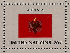 Double headed eagle on flag of Albania National Anthem, National Flag, Double Headed Eagle, Small Art, United Nations, Stamp Collecting, Postage Stamps, History, Flags