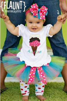 Personalized Polka Dot Ice Cream Cone Birthday Tutu Outfit