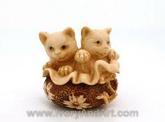 mammoth ivory netsuke - two kitties.