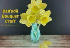 Daffodil Bouquet Craft at thatbaldchick.com K Cup Crafts, Crafts For Kids, Daffodil Bouquet, Easy Craft Projects, Craft Ideas, Ways To Recycle, Craft Free, Daffodils, Free Printables
