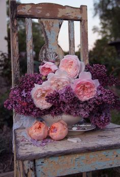 lilac and rose arrangement