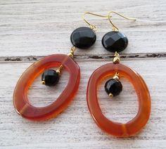 Orecchini agata arancione e onice nero, gioielli fatti a mano con pietre dure