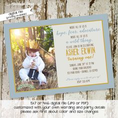 Where the wild things are invitations birthday baby boy shower invitation photo birth announcement bash (item 224) shabby chic invitations by katiedidesigns on Etsy https://www.etsy.com/listing/160707087/where-the-wild-things-are-invitations
