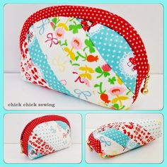 chick chick sewing: Half Moon Patchwork Pouch made of Strippy Scraps ♪ 半円パッチワークポーチ(細長いハギレで) ♪