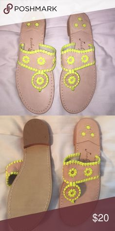 Jack Rogers Never worn Jack Rogers. Tan and neon yellow. Jack Rogers Shoes Sandals