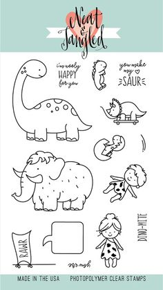 Neat and Tangled Prehistoric stamp set Doodle Drawings, Animal Drawings, Neat And Tangled, Karten Diy, Tampons, Digi Stamps, Coloring Book Pages, Drawing For Kids, Clear Stamps