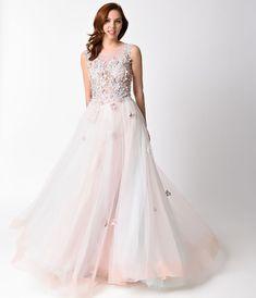 1950s Style Wedding Dresses Blush Multicolor Embellished Tulle Dress $286.00 AT vintagedancer.com