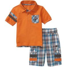 Blac Label Little Boys' 2 Piece Polo Shirt with Yarn-Dye Plaid Details & Yarn-Dye Plaid Cargo Shorts Set, Size: M(5/6), Orange