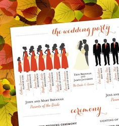 Fall Wedding Program with Bridal Party by EventswithGrace on Etsy, $50.00