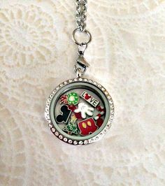 Living locket large silver stainless with crystals Disney Christmas inspired and choice of stainless steel chain by PrettyLittleLockets on Etsy Origami Owl Charms, Origami Owl Jewelry, Disney Outfits, Disney Clothes, Emo Outfits, Skull Fashion, Punk Fashion, Lolita Fashion, Disney Inspired Fashion