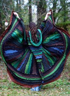 SuperDuperUbberAwesome Custom Kaleidoscope gypsy  faery  patchwork  upcycled  recycled sweater coat
