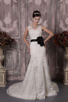 Trumpet/Mermaid V-neck Satin Lace Court Train Wedding Dress