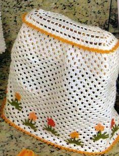 JOGO DE COZINHA COMPLETO EM CROCHÊ Crochet Pumpkin, Freeform Crochet, Drawstring Backpack, Diy And Crafts, Crochet Patterns, Embroidery, Vintage, 1, Pasta