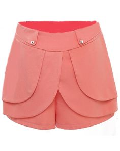 Light Orange High Waist Cascading Ruffle Shorts - Sheinside.com