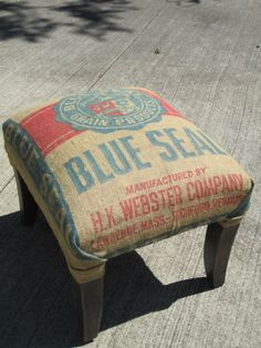 Primitive Feed Sack Stool