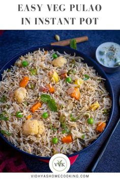 Make this delicious mixed vegetable pulao/pulav in Instant Pot with homemade pulao masala! A crowd-pleaser recipe with basmati rice. #rice #instantpot #rice #indianrice #southindian #vegetarian #healthy | vidhyashomecooking.com @srividhyam Indian Chicken Recipes, Goan Recipes, Side Recipes, Indian Food Recipes, Whole Food Recipes, Ethnic Recipes, Indian Appetizers, Vegetarian Appetizers, Vegetarian Cooking