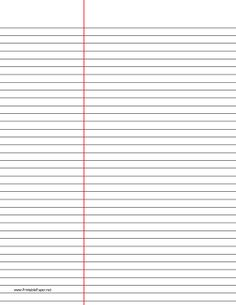 This letter-sized lined paper with black lines is law ruled and ideal for taking notes in law school or anywhere the wide left column setup will be of use. We have the same paper with blue lines, too. Free to download and print