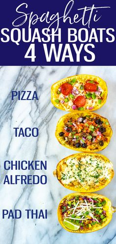 This post will show you How to Cook Spaghetti Squash with 4 different flavours - think pizza, pad Thai, chicken alfredo and taco spaghetti squash boats! Spaghetti Squash Pizza, Vegetarian Spaghetti, Taco Spaghetti, Courge Spaghetti, How To Make Spaghetti, Spaghetti Squash Recipes, Healthy Meals To Cook, Good Healthy Recipes, Healthy Eating
