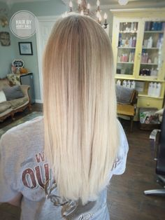 Icy blonde balayage natural blended Elsa hair