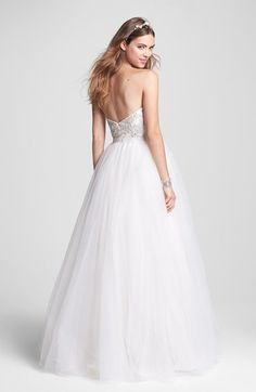 Roses by Reem Acra 'Ivy' Embellished Tulle Ball Gown