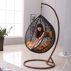 Japanese Zen Like Black Rattan Indoor Hanging Chair