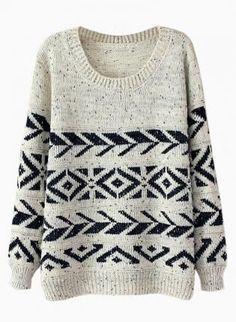Beige+&+Navy+Geometric+Print+Sweater,++Sweater,+beige+navy+geometric+oversized+jumper,+Chic