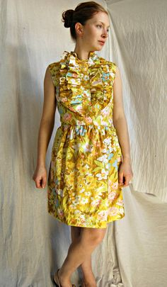 Floral print with ruffles - too cute! Petite Dress Green and Yellow Dress Cotton Ruffle Dress. $90.00, via Etsy.
