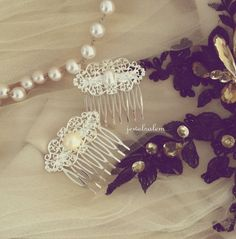 Pearl Hair Comb Wedding Bridal Hair Accessory Silver Gold Old Antique Brass Vintage Style Headpiece for Bride Dreamy Boho White Ivory Cream