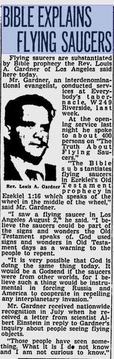Spokane Daily Chronicle (September 8, 1952):`Bible Explains Flying Saucers' (HT https://ahigherstrangeness.wordpress.com/2015/04/17/spokane-daily-chronicle-september-8-1952bible-explains-flying-saucers/)