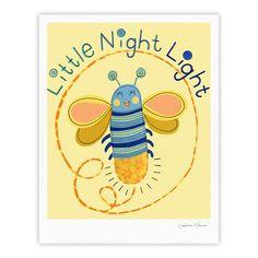 "Jane Smith ""Little Night Bug"" Yellow Blue Fine Art Gallery Print"