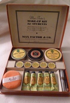 Vintage MAX FACTOR Stage Makeup Kit FEMALE -Box -RARE Hollywood Theatrical '40s