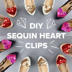 DIY sequin heart shoe clips, brooch & bobby pin! SUPER easy, quick & affordable!! Add a cute dose of sparkle to any outfit  #diy #valentines #idea #outfit #sequin #heart