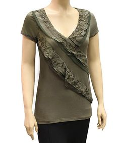 Look at this #zulilyfind! Olive Lace Ruffle V-Neck Top - Women by Select Brands #zulilyfinds