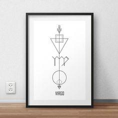 Virgo  Print, Astrology Wall Art, Geometric Virgo Poster, Virgo Gift, Zodiac Print, Virgo Art, Horoscope Poster, Astrology Gift