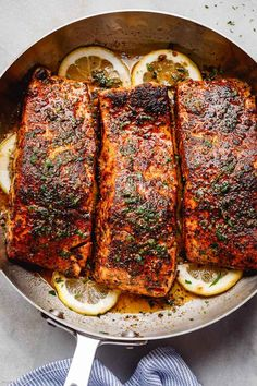 Blackened Salmon with Lemon Butter Sauce - - This delicious blackened salmon recipe is fool-proof and ready in under 30 minutes! Salmon Recipe Pan, Delicious Salmon Recipes, Baked Salmon Recipes, Fish Recipes, Seafood Recipes, Cooking Recipes, Healthy Recipes, Dinner Recipes, Budget Cooking