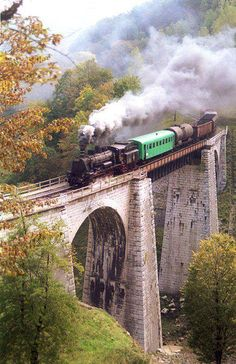 The Anina–Oravița was the first mountain railway in today's Romania, opened in it is still in use today for touristic purposes, and it is one of the most beautiful railways in Europe due to very picturesque landscapes, viaducts a Visit Romania, Turism Romania, Romania Travel, Voyage Europe, Train Tracks, Belle Photo, Places To See, Beautiful Places, Scenery