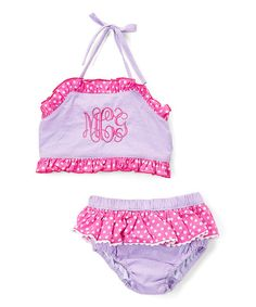 Smocked or Not Pink & Purple Monogram Bikini Sunsuit - Infant, Toddler & Girls | zulily