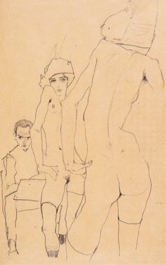 "lanangon: "" Egon Schiele ""Self Portrait with Model in Front of a Mirror"" """